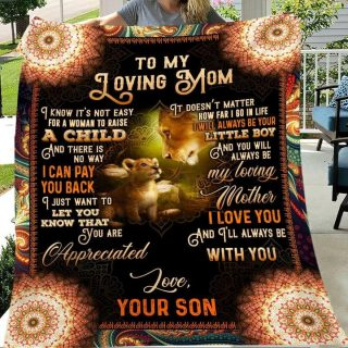 To My Loving Mom You Are Appreciated Mandala Lion Blanket, Mom And Son Blanket, Lion Family Blanket, Gift For Mom