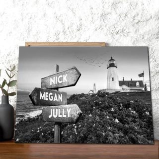 Black And White Lighthouse  Landscape  Custom Canvas,  0.75 & 1.5 In Framed Canvas -street Signs Customized With Names - Wall Decor,canvas