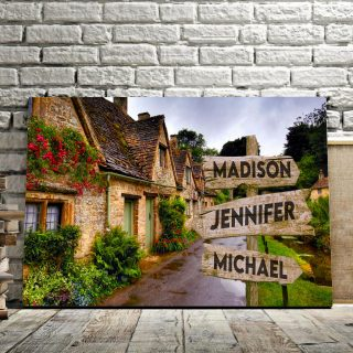 Personalized House And Flower Multi-Names Premium 0.75 & 1,5 Framed Canvas - Street Signs Customized With Names- Home Living- Wall Decor