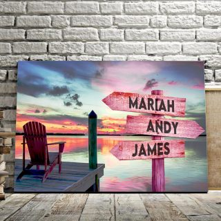 Personalized Sunset At The River Multi-Names Premium 0.75 & 1,5 Framed Canvas - Street Signs Customized With Names- Home Living- Wall Decor