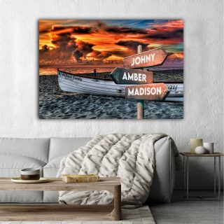 Personalized Sunset At The Beach Multi-Names Premium 0.75 & 1,5 Framed Canvas - Street Signs Customized With Names- Home Living- Wall Decor