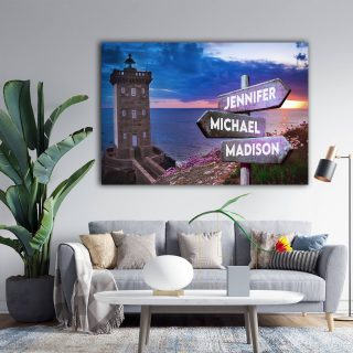 Personalized Lighthouse Multi-Names Premium 0.75 & 1,5 Framed Canvas - Street Signs Customized With Names- Home Living- Wall Decor