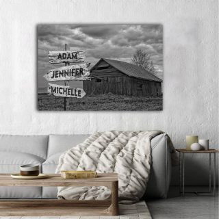 Personalized Farm House Multi-Names Premium 0.75 & 1,5 Framed Canvas - Street Signs Customized With Names- Home Living- Wall Decor