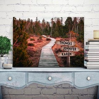 Personalized Forrest Road,  Multi-names Premium Canvas - Street Signs Customized With Names- 0.75 & 1.5 In Framed -wall Decor, Canvas Wall