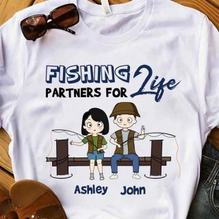 Personalized Couple Fishing Parters For Life Shirt, Gift For Fishing Couple Lovers, Gift For Him, Her, Family Shirt, Couple Gift