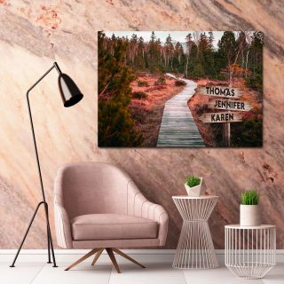 Personalized Road Into The Woods Multi-Names Premium 0.75 & 1,5 Framed Canvas - Street Signs Customized With Names- Home Living- Wall Decor