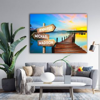 Personalized Bridge In The Lake Multi-Names Premium 0.75 & 1,5 Framed Canvas - Street Signs Customized With Names- Home Living- Wall Decor