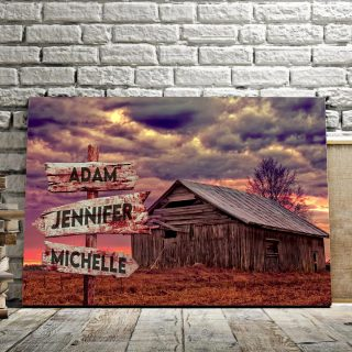 Personalized House And Farm Multi-Names Premium 0.75 & 1,5 Framed Canvas - Street Signs Customized With Names- Home Living- Wall Decor