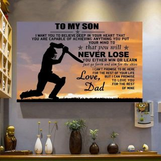 To My Son Cricket You Will Never Lose Love Dad Canvas, Cricket Canvas, Gift For Son, Cricket Players, Family Gift, Wall Art