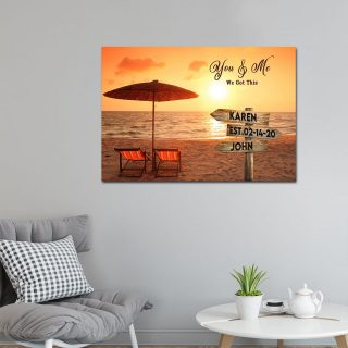 Personalized Couple You And Me We Got This Memory Beach Landscape Canvas, Beach Custom With Names, Wedding Dating Engagement Gift, Wall Art