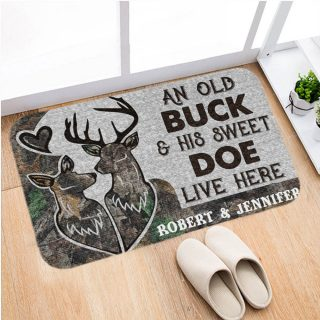 Personalized Deer Couple Old Buck and Sweet Doe live here Doormat- bath mat, funny Deer, husband and wife, family decor, home & living