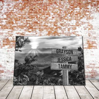 Personalized Sunset Mountains Multi-Names Premium 0.75 & 1,5 Framed Canvas - Street Signs Customized With Names- Home Living- Wall Decor