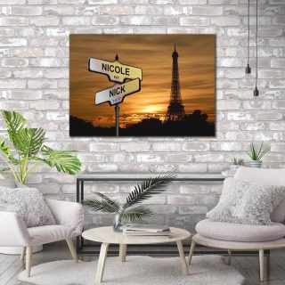 Personalized Eiffel Tower Multi-Names Premium 0.75 & 1,5 Framed Canvas - Street Signs Customized With Names- Home Living- Wall Decor