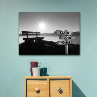 Personalized Dawn On The River Multi-Names Premium 0.75 & 1,5 Framed Canvas - Street Signs Customized With Names- Home Living- Wall Decor