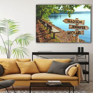 Personalized Lake Side Multi-Names Premium 0.75 & 1,5 Framed Canvas - Street Signs Customized With Names- Home Living- Wall Decor