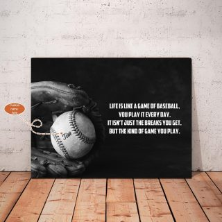 Personalized Baseball Life Is Just A Game Of Baseball Canvas, Gift For Baseball Catchers, Gift For Son, Wall Art