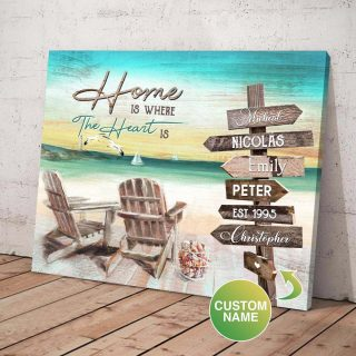 Personalized Beach Home Is Where The Heart Is Canvas, Street Signs Customized With Names- 0.75 & 1.5 In Framed -wall Decor