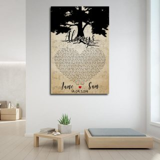 Personalized Couple Names- Heart Shaped Always Song Lyrics 0.75 & 1.5 In Framed Canvas- Anniversary Gifts- Canvas Wall Art - Canvas Wall Art