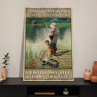 Fishing I Enjoy My Life With My Own Rules Canvas, Fishing Canvas, Inspirational Quote, Gift For Papa, Gift For Dad, Hunters Canvas