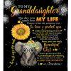 To Me Granddaughter You're The Storm Love Grandma Fleece Blanket, Elephant Sunflower Blanket, Gift For Granddaughter, Family Blanket
