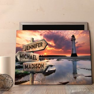 Personalized Lighthouse and Sky Multi-Names Premium 1,5 Framed Canvas - Street Signs Customized With Names- Home Living- Wall Decor