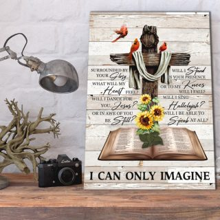 Personalized I Can Only Imagine Hummingbird and Sunflower 0.75 & 1.5 In Framed Canvas - Home Decor- Canvas Wall Art