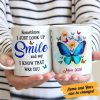 Personalized Mom Memorial Coffee Mug, Sometimes I Just Look Up Smile And Say I Know That Was You Butterfly Mug, Love In Heaven, Family Mug,