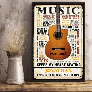 Personalized Recording Studio Music Keep Heart Beating Guitar Vintage Canvas, Music Art Vintage, Guitar Canvas, Wall Art