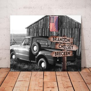 Personalized Country Barn Old Truck With American Flag Canvas, Vintage Countryside- Street Signs Customized With Names- 0.75 & 1.5 In Frame