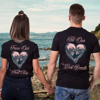 Skull Couple From Our First Kiss Till Our Last Breath Shirt, Skull Couple Shirt, Valentine's Day Gift