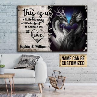 Personalized This Is Us Dragon Couple Canvas, Couple Canvas, Gift For Lover, Husband And Wife Canvas, Valentine's Day Gift, Home Decor