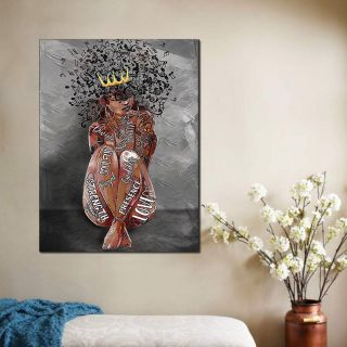 Black Queen Personality Music Note Canvas, Black Girl Canvas, Melanin