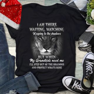 When My Grandkids Need Me I'll Step Out Of The Shadows And Protect Lion Shirt, Grandpa Shirt, Grandma Shirt, Family Gift Shirt, Lion Shirt