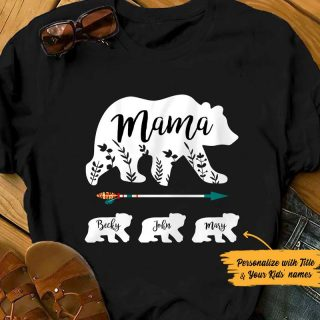Personalized Mama Bear T-shirt, Custom Grandchild's Name Kids Shirt, Mom Shirt, Mother Gift