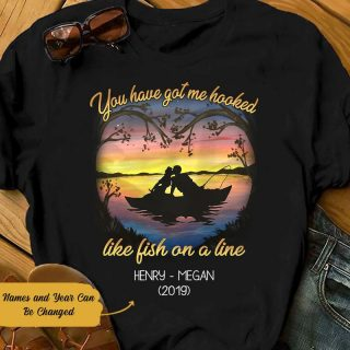Personalized Fishing Couple T-shirt, You Have Got My Hooked Shirt, Couple Shirt, Gift For Lovers, Valentine's Day Gift