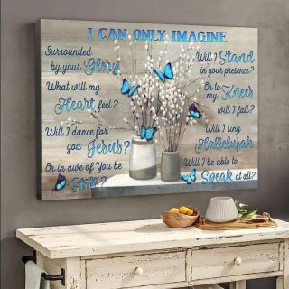 I Can Only Imagine Butterflies Canvas, Love In Heaven Canvas, Memorial Gift, Memorial Canvas, Family Canvas, Wall Art
