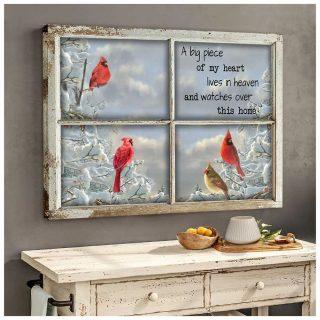 Cardinal Birds A Big Piece Of My Heart Lives In Heaven Canvas, Cardinal Birds Canvas, Memorial Canvas, Wall Art