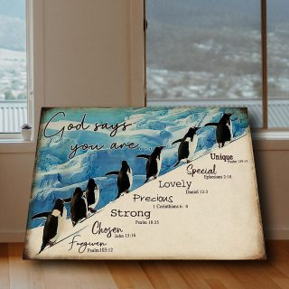 Cute Penguins -God Says You Are Unique Special Lovely 0.75& 1.5 In Framed Canvas -Home Decor, Canvas Wall Art