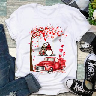 Valentine's Day Gift Shirt Gnome Couple Red Truck Heart Shirt, Gift For Lover, Valentine's Shirt