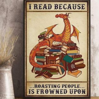 Funny Dragon Books I Read Because Roasting People Is Frowned Upon Vintage Canvas, Reading Dragon Canvas, Gift For Her, Book Addicts, 0.75 &