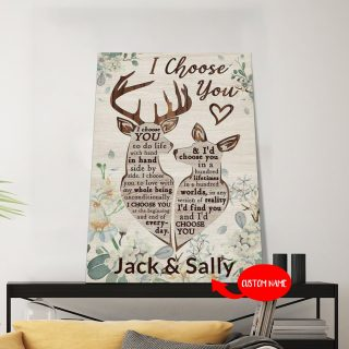 Personalized Deer I'd Find You And I'd Choose You 0.75 &1.5 In Framed Canvas - Anniversary Gifts- Wedding Gifts- Home Decor, Wall Art