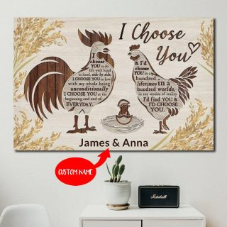 Personalized Chicken  I Choose You To Do Life With Hand In Hand Side By Side 0.75 &1.5 In Framed Canvas-Wall Decor, Wall Art