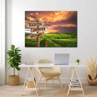 Personalized Mountains Multi-Names Premium 0.75 & 1,5 Framed Canvas - Street Signs Customized With Names- Home Living- Wall Decor