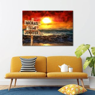 Personalized Sunset At Sea Multi-Names Premium 0.75 & 1,5 Framed Canvas - Street Signs Customized With Names- Home Living- Wall Decor