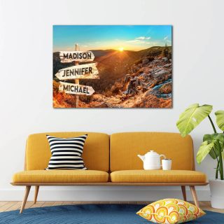 Personalized Dawn In The Mountain Multi-Names Premium 0.75 & 1,5 Framed Canvas - Street Signs Customized With Names- Home Living- Wall Decor
