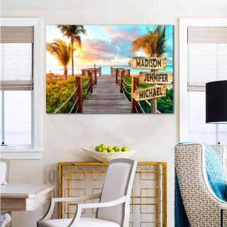 Personalized Resort Beach Multi-Names Premium 0.75 & 1,5 Framed Canvas - Street Signs Customized With Names- Home Living- Wall Decor