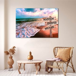 Personalized Beach Multi-Names Premium 0.75 & 1,5 Framed Canvas - Street Signs Customized With Names- Home Living- Wall Decor