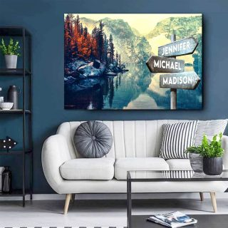 Personalized Mountain And Beach Multi-Names Premium 0.75 & 1,5 Framed Canvas - Street Signs Customized With Names- Home Living- Wall Decor