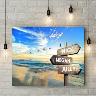 Personalized Beautiful Beach View Landscape Multi-names Premium Canvas - Family Street Signs Customized With Names- 0.75 & 1.5 In Framed -w