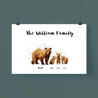 Personalized Brown Bear Family Watercolor Multi-names Poster, Bear Watercolor Art, Family Custom Poster, Art Decor Without Frame